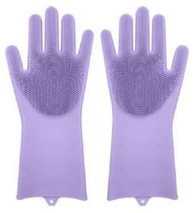 Double-Sided Silicone Dish Washing Gloves Cleaning Scrubber-Violet