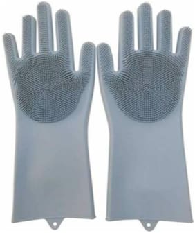 Double-Sided Silicone Dish Washing Gloves Cleaning Scrubber-Grey