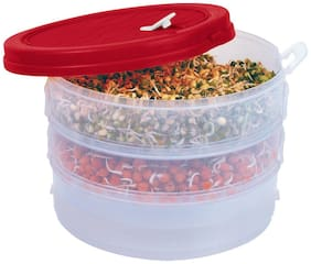 Dough & sprout maker - 3 Compartments - 1000 ml Plastic Grocery Container (Pack of 1;Red;Transparent)