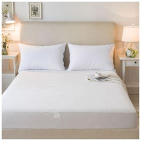 Dream Care Breathable Waterproof And Dustproof Queen Size (WxLxH : 66''X80''X9'') Luxury White Colour Elastic Mattress Protector - 1 Pcs