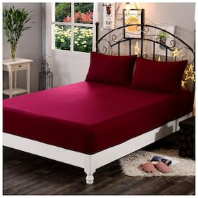 Dream Care Breathable Waterproof And Dustproof King Size (WxLxH : 72''X75''X9'') Luxury Maroon Colour Elastic Mattress Protector - 1 Pcs