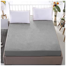 Dream Care Breathable Waterproof And Dustproof Twin Size (WxLxH : 36''X75''X9'') Luxury Grey Colour Elastic Mattress Protector - 1 Pcs