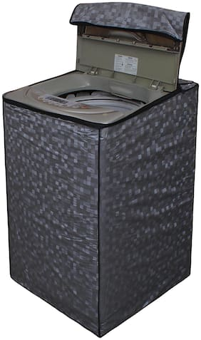 Dream Care Grey Printed Washing Machine Cover for Fully Automatic Top Loading LG T8067TEDLR 7 kg