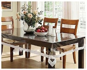 Dream Care transparent table cover with white border laces 40x60 inch (WxL) 6 seater table cover