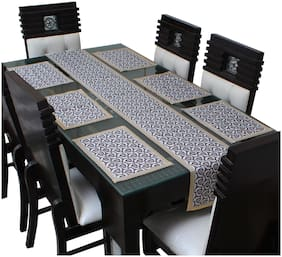 Dream Care Waterproof Table Runner With Mats (6 pcs Placemats + 1 Table Runner)