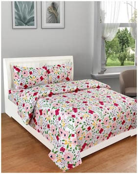 DREAM LIVING Microfiber Floral Double Size Bedsheet 110 TC ( 1 Bedsheet With 2 Pillow Covers , Multi )