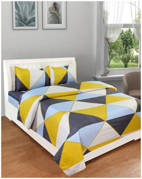 DREAM LIVING Microfiber Geometric Double Size Bedsheet 125 TC ( 1 Bedsheet With 2 Pillow Covers , Multi )