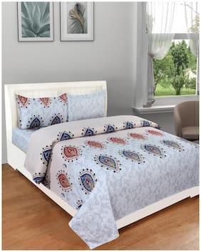 DREAM LIVING Microfiber Geometric King Size Bedsheet 140 TC ( 1 Bedsheet With 2 Pillow Covers , Blue )