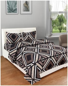 DREAM LIVING Microfiber Geometric King Size Bedsheet 140 TC ( 1 Bedsheet With 2 Pillow Covers , Brown )