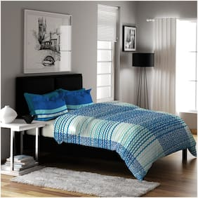 Dreamline Classic Light Blue Printed Double Bedsheet with 2 Pillow Cover Set (7005)