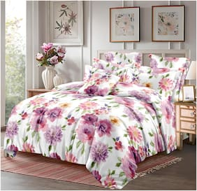 Dreamline Microfibre Floral Double Bedsheet ( 1 Bedsheet With 2 Pillow Covers , Pink )