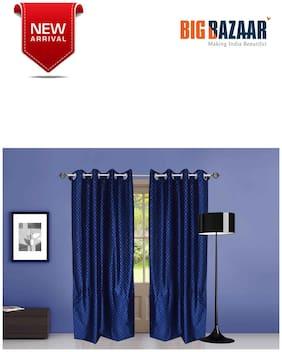 Dreamline Flock Printed Blue Door Curtain 2 pc Set