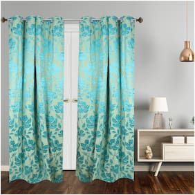 Dreamline Floral Premium Jacquard Readymade 7Ft Door Curtain