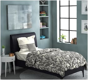 Dreamline Out Of The Box Grey Floral Single Bedsheet with 1 Pillow Cover Set (DSN-3004)