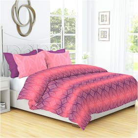 Dreamline Imprint Purple Double Bed sheet with 2 Pillow covers Set