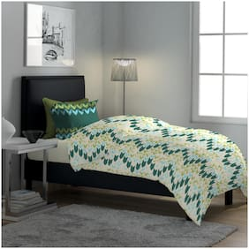Dreamline Classic Green Printed Single Bedsheet with 1 Pillow Cover Set (DSN-9001)