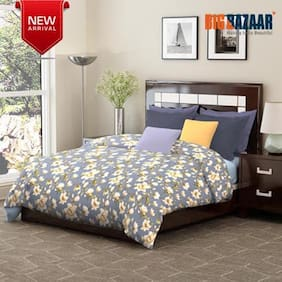 Dreamline Occasion Grey 1 Double Bedsheet with 2 Pillow covers Set