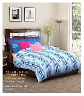Dreamline Occasion Blue Double Bed sheet with Pillow covers Set