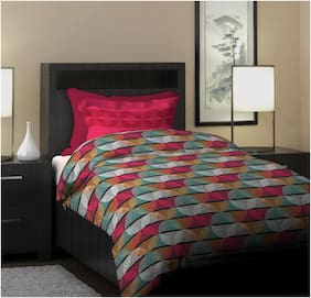 Dreamline Project Art Multi Geometric Single Bedsheet with 1 Pillow Cover Set (DSN-06)