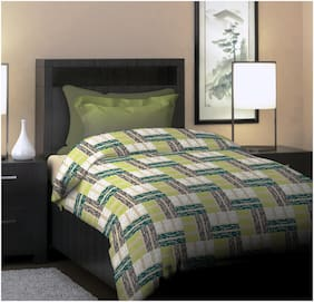 Dreamline Project Art Green Single Bedsheet with 1 Pillow Cover Set (DSN-04)