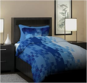 Dreamline Project Art Blue Geometric Single Bedsheet with 1 Pillow Cover Set (DSN-05)