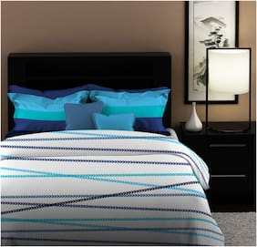 Dreamline Solid & Shape Blue Striped Double Bedsheet With 2 Pillow Cover Set