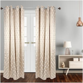 Dreamline Striped Premium Jacquard Readymade 7Ft Door Curtain