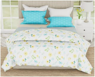Dreamline Cotton Floral Double Bedsheet ( 1 Bedsheet With 2 Pillow Covers , Multi )