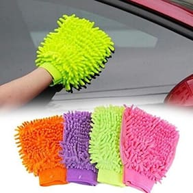 Dreams Microfiber Dusting Cleaning Glove for Home Office Kitchen Hotel (Assorted Colours)