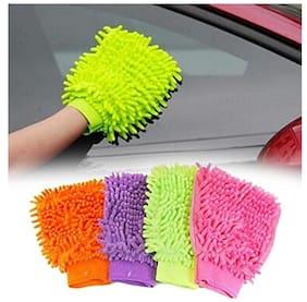 Dreams Multi-Purpose Micro Fiber Washing Gloves (Colour May Vary, Set of 4)
