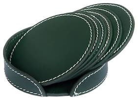 Drink Coasters Set of 6 with Holder, Green Non-Slip Round Leather Coasters for Table Protection, Prevents Scratching or Damaging Furniture