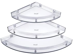 Drizzle Corner Shelf For Bathroom Ubreakable Super Clear (Size 7 Inch;9 Inch;11 Inch) Set Of 1 (3 Pieces)