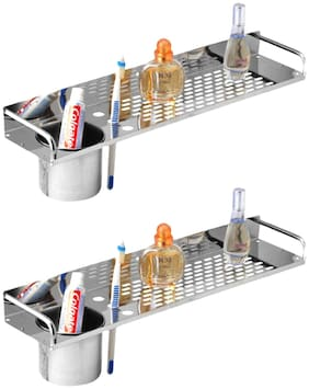 Drizzle Shelves With Tumbler Holder Stainless Steel / Wall Shelve 16 Inch Long - Set Of 2