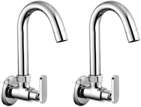 Drizzle SOLO KITCHEN SINK TAP BRASS WITH FOAM FLOW, QUARTER TURN, 360 DEGREE SWIVEL SPOUT - PACK OF 2 PIECES Wall Mount Brass Basin and Sink Taps ( Handle Controlled )