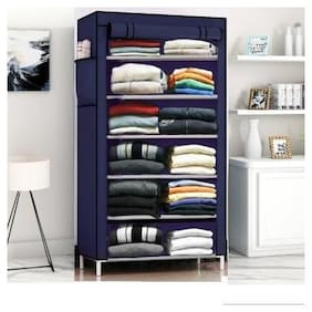 DU STORE Foldable Blue Color Collapsible Wardrobe-6 Shelves