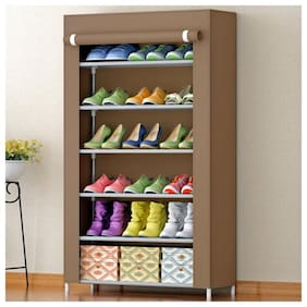 DU STORE Foldable/Portable Storage/Shoe Rack Stand In 6 Shelves (Brown)