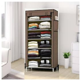 DU STORE Foldable Brown Color Collapsible Wardrobe-6 Shelves