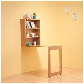 Duroflex Shuffle -Foldable Wall Mounted Study Table Integrated With Storage Shelves