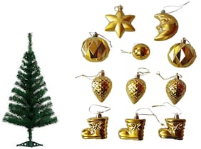 Dwes Christmas Decorative Tree With Ornaments Golden (Set Of 12)-Christmas Tree