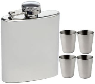 Dynamic Store Hip Flask 226.79 g (8 OZ) With 4 Shot Glasses