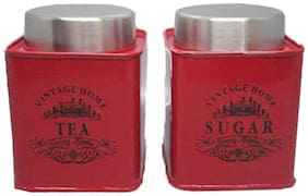 Dynore Red Square half deck Tea & Sugar canister