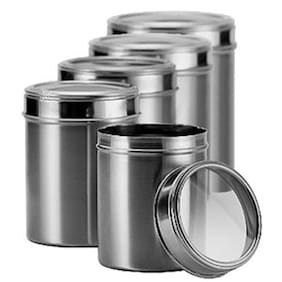 Dynamic Store Stainless Steel Kitchen Storage Canisters - Set Of 5