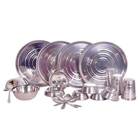 Dynamic Store Stainless steel Dinner Sets - Set of 24 , Silver