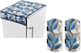 E-Retailer  Combo of Fridge Top Cover with 6 Utility Pockets and (2Pc) Fridge Handle Cover for Double Door