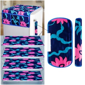 E-Retailer Combo of 1 pc Fridge Top Cover with 6 Utility Pockets;2 pcs Fridge Handle Cover and 4 pcs Fridge Mats (PinkBlue;Set of 7)