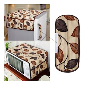 E-Retailer Combo Set of Polyester 3-Layered Fridge Top Cover with 6 Utility Pockets With 1 pc Fridge Handle Cover And 1 pc Microwave-Oven Top Cover With 4 Pockets (Brown;3 pc Set)