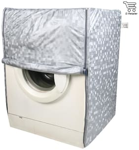 E-Retailer Classic Gray Colour With Square Design Front Loading Washing Machine Cover (Suitable for 5 kg to 8 kg Capacity)