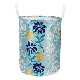 E-Retailer Polyester Blue Laundry Basket ( Set of 1 )