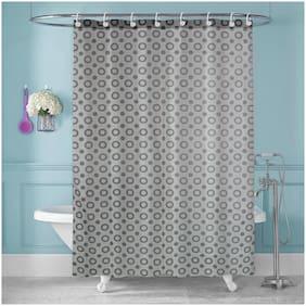 E-Retailer PVC Long Door Semi Transparent Grey Shower Curtain ( Rod Pocket Closure , Polka Dot )