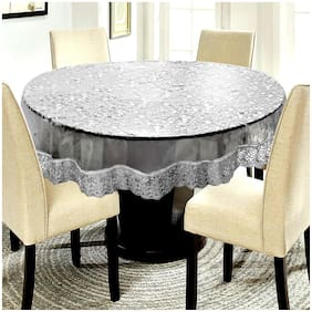 E-Retailer Elegant Transparent On Coin Design Printed With Silver Lace 182.88 cm (72 inch) Round Table Cover